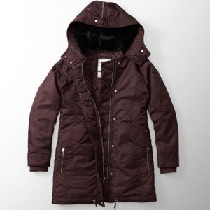 NWT Abercrombie  Fur Hood Puffer Parka Jacket Coat
